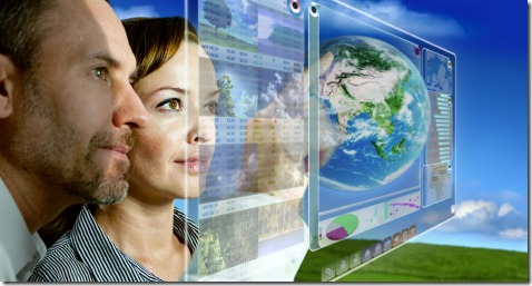 man and woman are working with futuristic screen